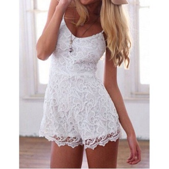 romper one piece jumpsuit white lace lacey summer spring cute casual hippie bohemian girl girly pattern