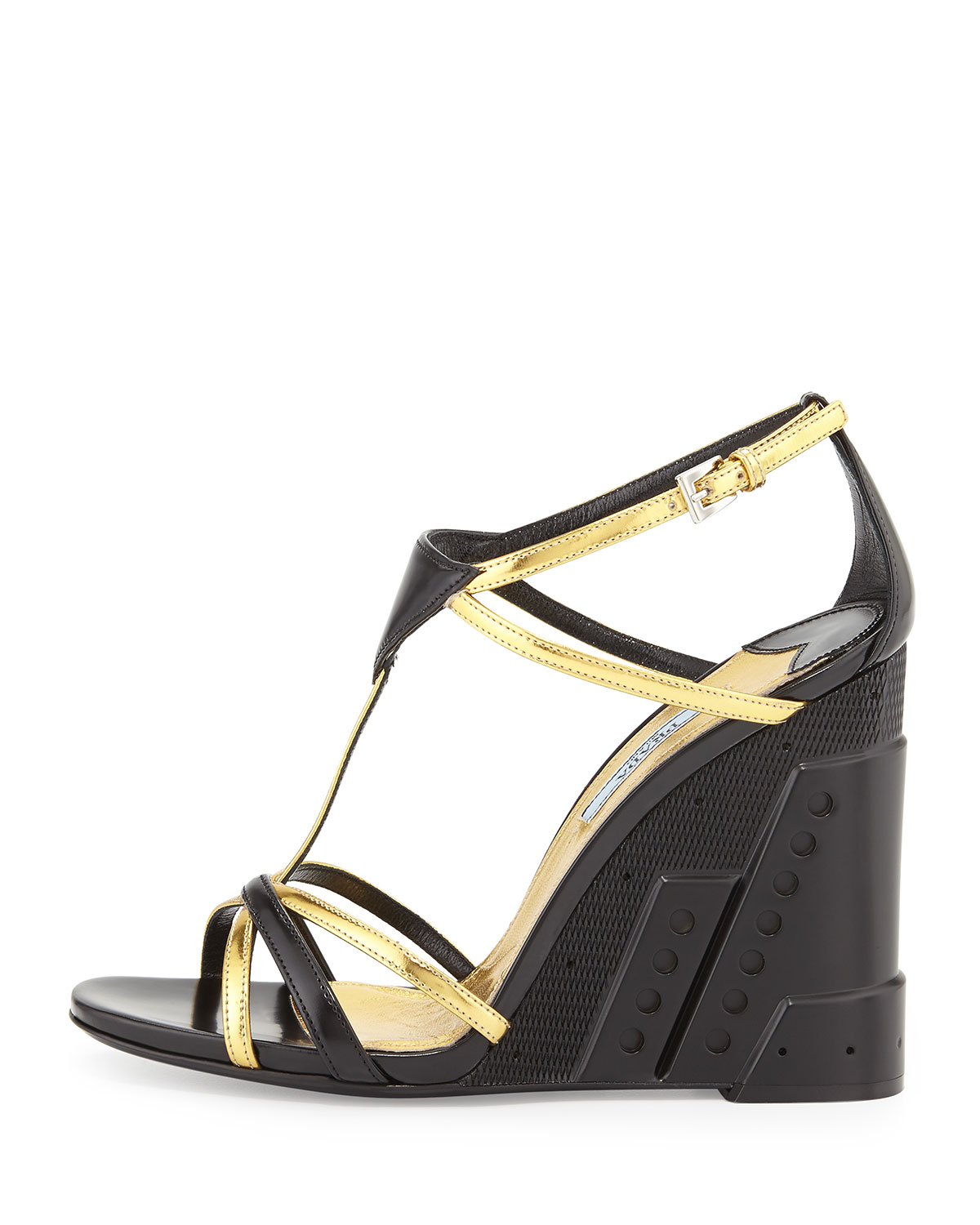 Bi-Color Crisscross T-Strap Molded Wedge, Black/Gold (Nero/Oro)