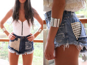 shorts,High waisted shorts,denim shorts,tank top,shirt,jewels,studded shorts,high waisted denim shorts,white tube top,blouse,tube tops,white tube tops