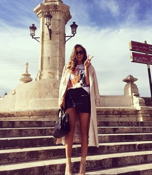 printed tee t-shirt jacket givenchy trench coat black leather skirt kenza zouiten ivyrevel, balenciaga bag, white, black, beige skirt coat