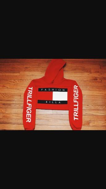 sweater fashion killa tommy hilfigerw red tommy hilfiger crop top cropped hoodie red sweater