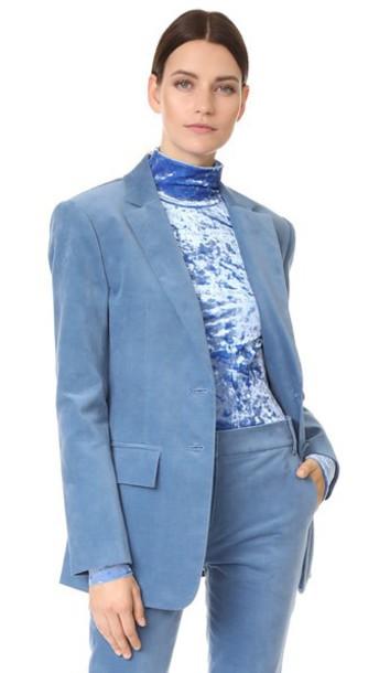Tibi blazer straps oversized velvet blue jacket