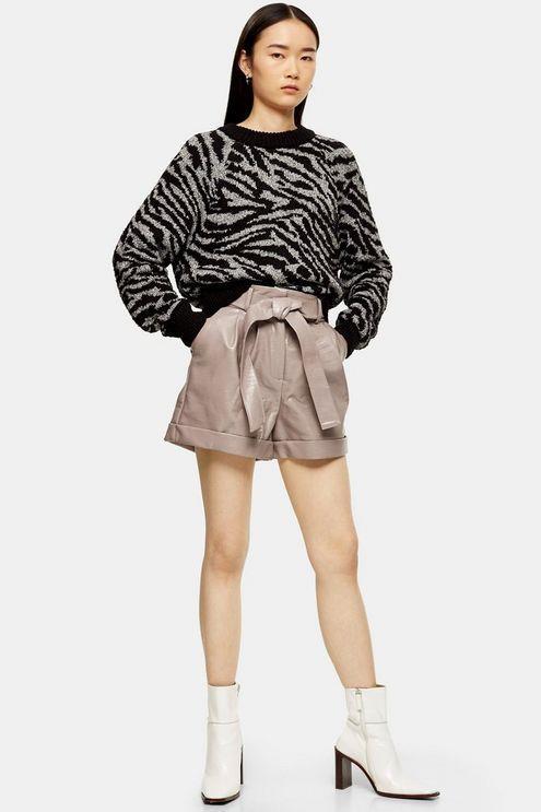 Taupe Pu Oversized Crocodile Shorts - Taupe