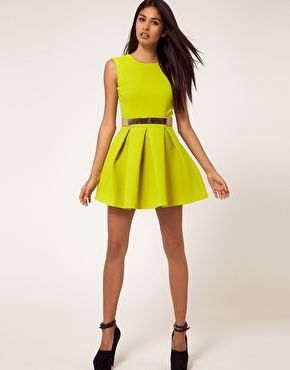 Aqua | Aqua  Floyd Dress Structured Skater with Metal Section Belt at ASOS