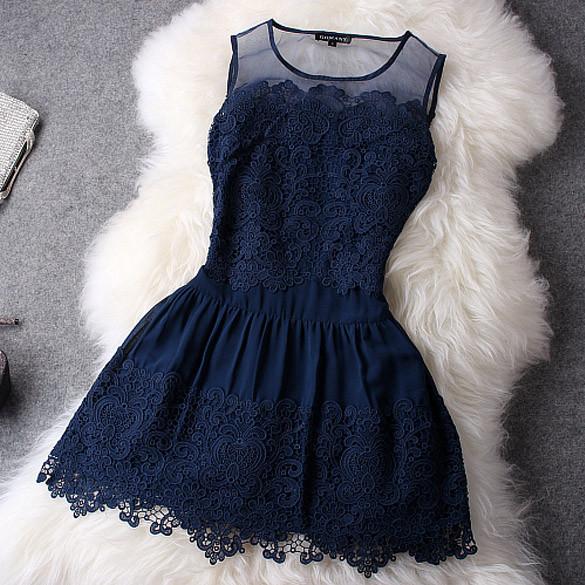 Lace blue elegant dress with floral details