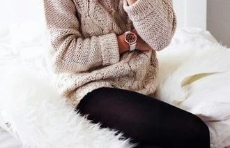 sweater cozy oversize beige knitwear