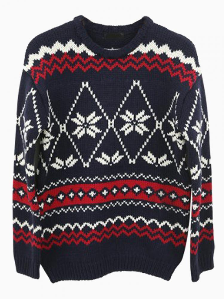 Snowflake Chevron Patterned Jumper In Navy Blue   Choies