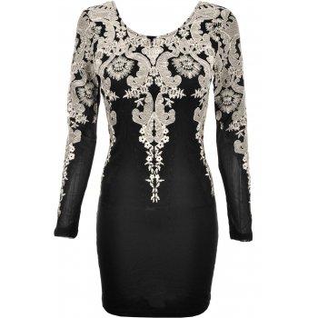 Carmen gold lace bodycon dress