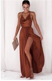 dress,rust,silk dress,cowl neck