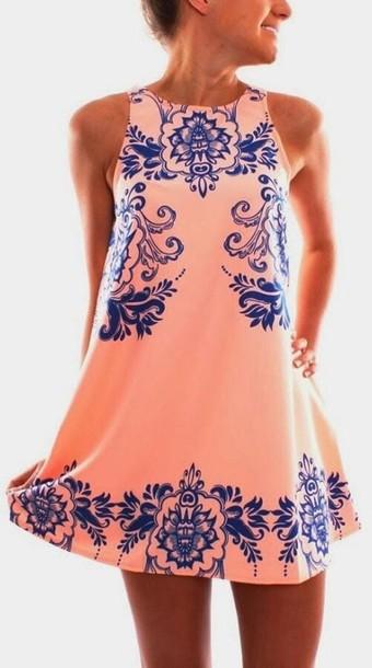 dress peach blue girly cute clothes short dress coral and blue dress pattern high neck pink dress baroque dress summer dress