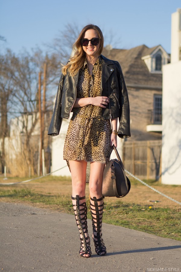 side smile style shirt dress jacket shoes sunglasses bag