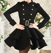 dress,celebrity,black dress,black,jacket,belt,gold,buttons,cute,classy,black and gold,dressy,little black dress,button up,casual,coat,flare,buckles,girly,trendsgal.com,black coat,korean fashion