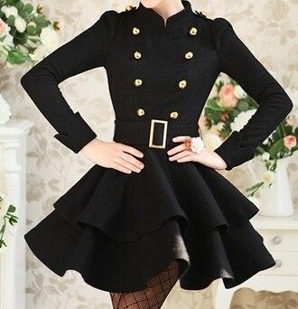 dress celebrity black dress black jacket belt gold buttons cute classy black and gold dressy little black dress button up casual coat flare buckles this exact girly trendsgal.com black coat korean fashion