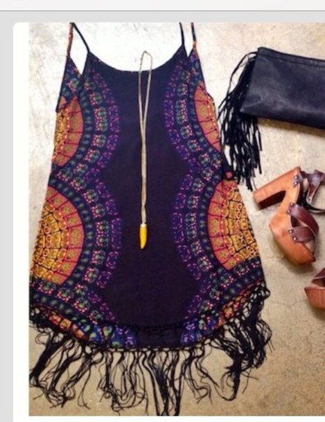dress summer summer dress fringes pattern tie dye purple