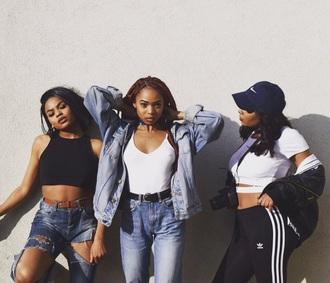 pants denim cut out denim jeans tumbr girl black girls killin it black crop top belt brown belt white crop tops