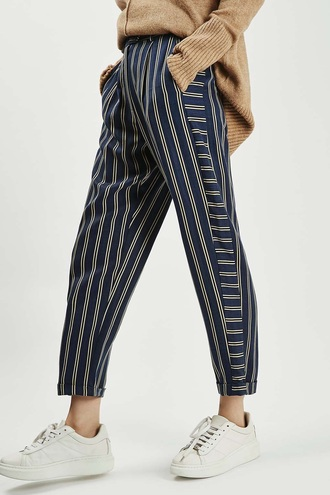 pants stripes blue yellow leggings tights vintage striped pants
