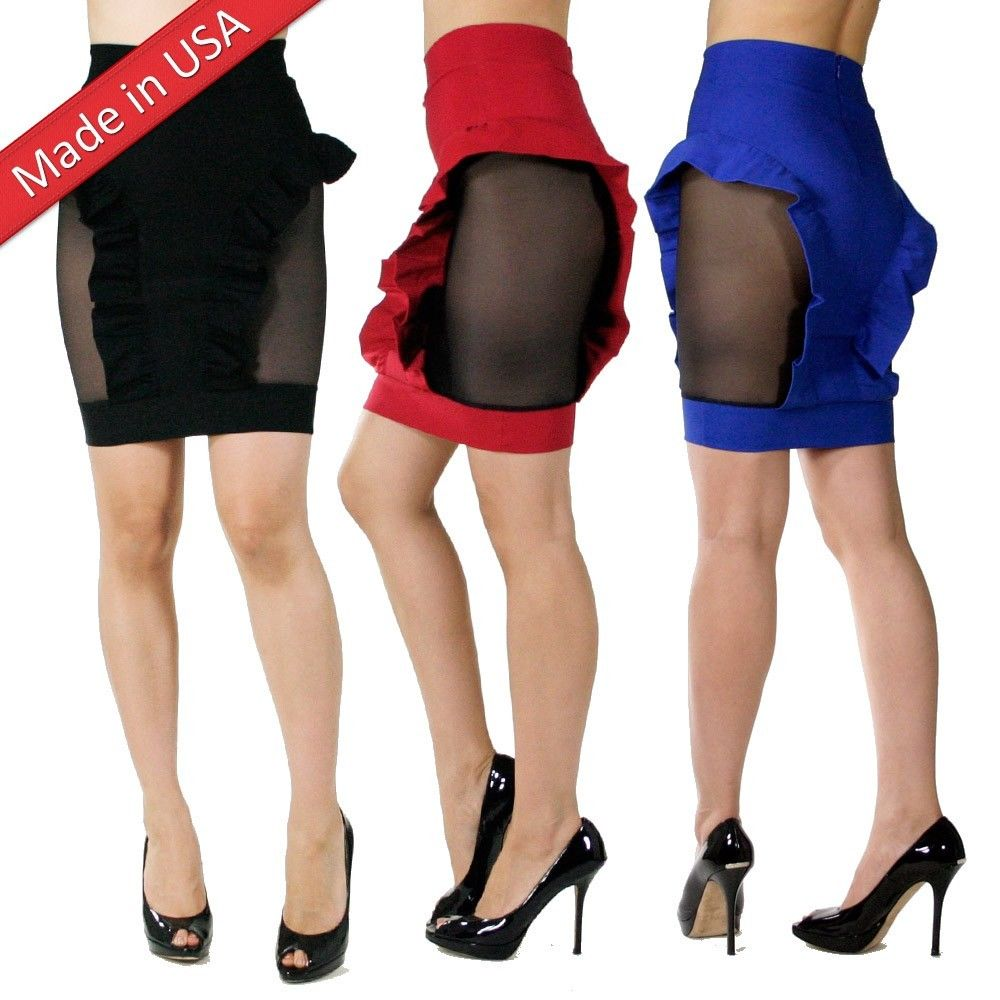 New Tight Fitted Ruffle Peplum Sexy Mesh Insert Mini Skirt Made in USA