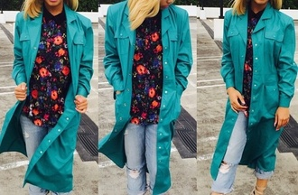 jacket turquoise trench coat blue dress long coat girly