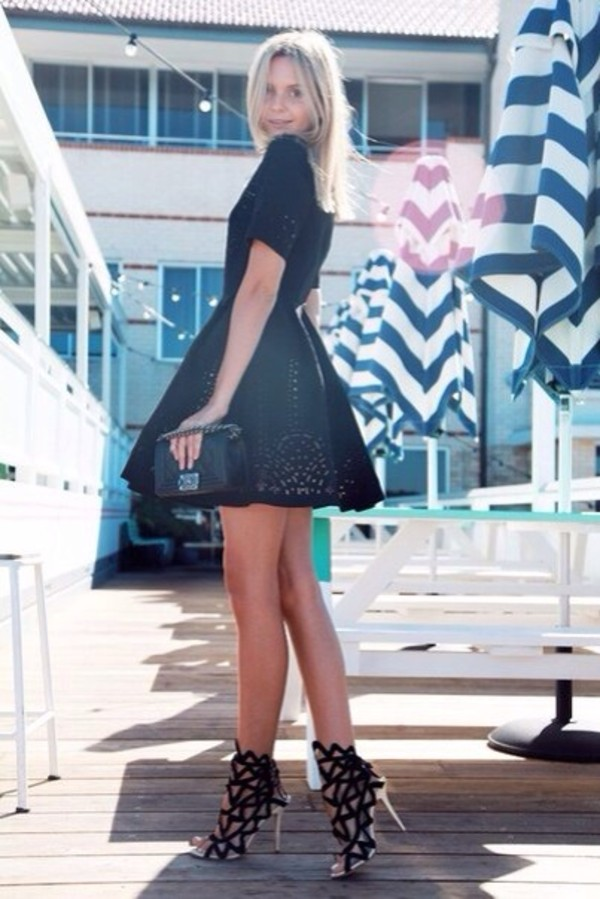 shoes black shoes geometric black stripes silver shoes high heels dress