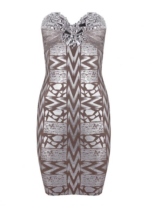 Strapless Beaded Silver Foil Bandage Dress H469$149