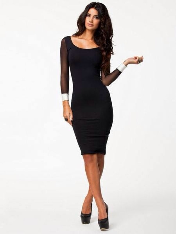 dress black dress fashion long legs pretty hair black dress black and white dress midi dress tumblr outfit party outfits