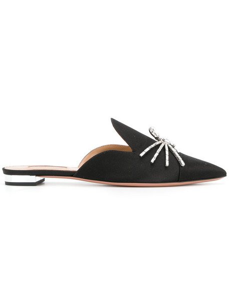 Aquazzura women flats leather black silk shoes