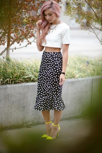 the blvck sheep blogger midi skirt polka dots white crop tops