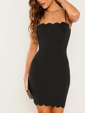 dress,girly,girl,girly wishlist,black dress,black,bodycon dress,bodycon,scalloped