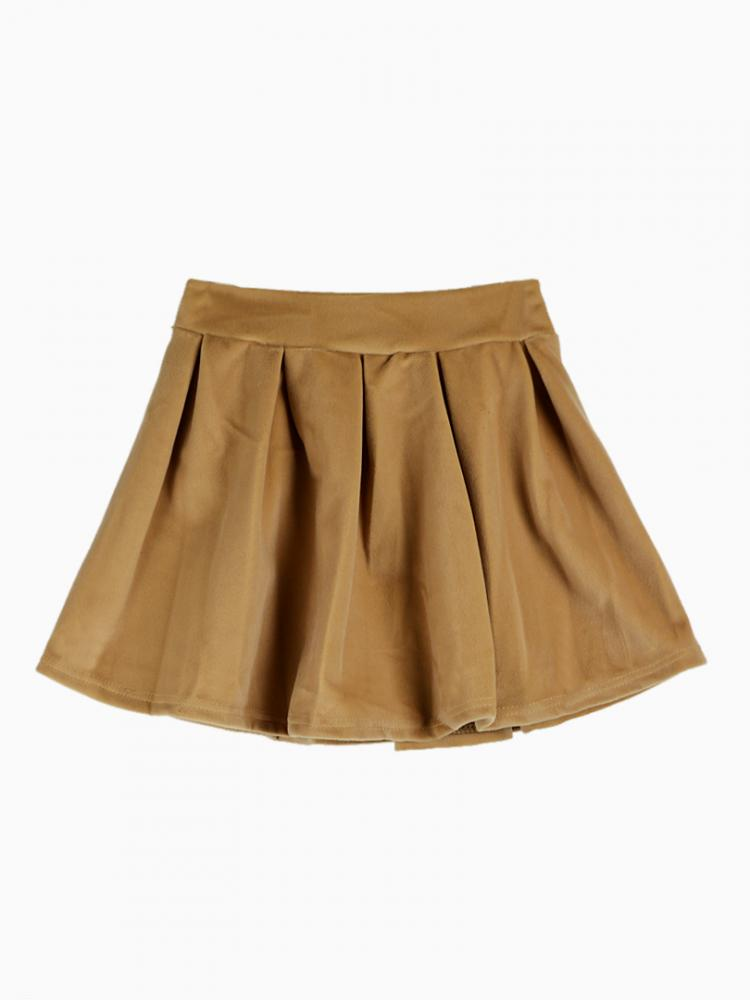 Velvet Pleated Skirt In Camel | Choies