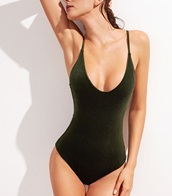 swimwear,one piece swimsuit,one piece,velvet,green