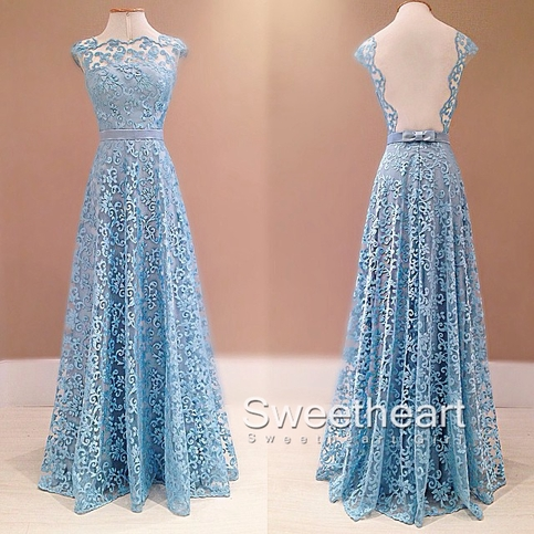 Pretty lace long prom dresses, bridesmaid dresses