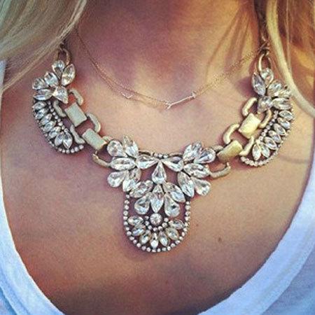 shopbazar shopping mall — [grzxy61000038]Luxe Chunky Chain Links Rhinestones Choker Statement Necklace