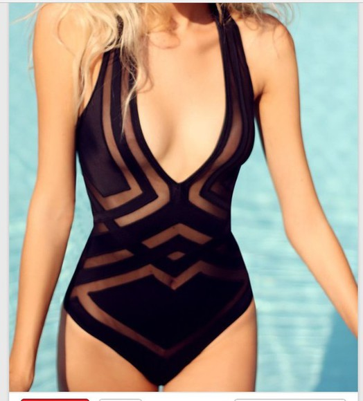 mesh sheer swimwear one piece swimsuit black bathing suit
