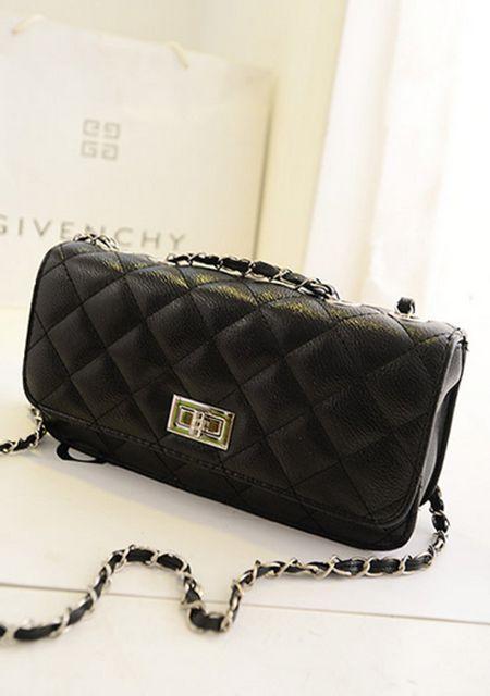 Women's leather grid printing metal chain single shoulder bag online
