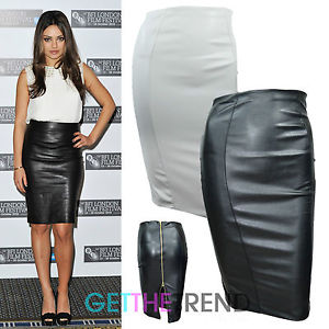 Womens Black Cream Celeb Inspired Black Faux Leather Back Zipped Zip Skirt 8-14 | eBay
