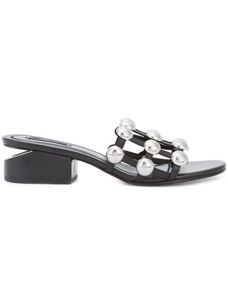 women pearl embellished sandals leather black shoes