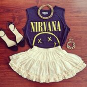 t-shirt,skirt,nirvana t-shirt,shirt,high heels,jewelry,jewels,shoes,nirvana,outfit,rock,badass,smiley,cool,grunge,90s grunge,white skirt,girly grunge,girly,90s style,cute smile,smile,heels