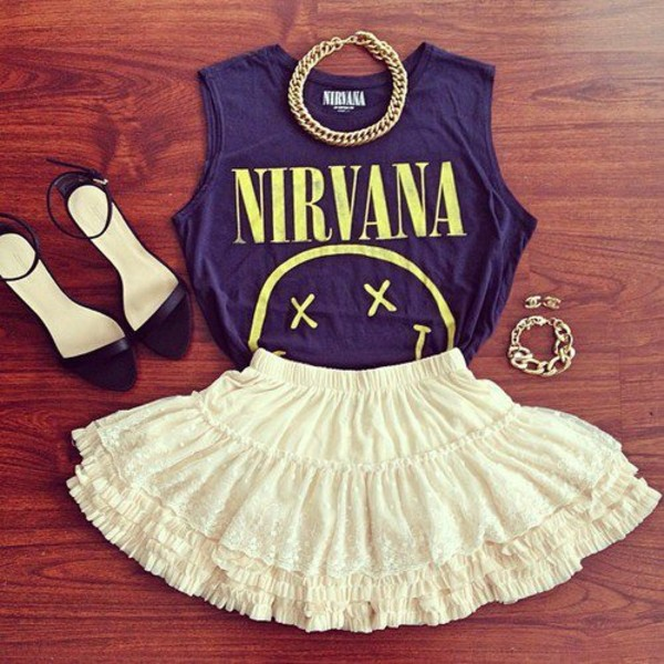 t-shirt skirt nirvana t-shirt shirt high heels jewelry jewels shoes nirvana outfit rock badass smiley cool grunge 90s grunge grunge white skirt girly grunge girly 90s style cute smile smile heels