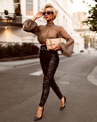 shoes pumps black pumps pants black pants top crop tops bag sunglasses