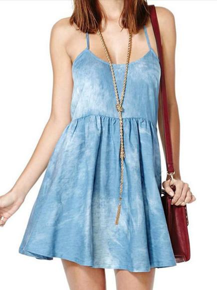 denim dress acid wash denim bleached spaghetti straps t-shaped a line ruffle sleeveless plain