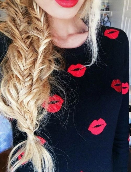 red black sweater lips