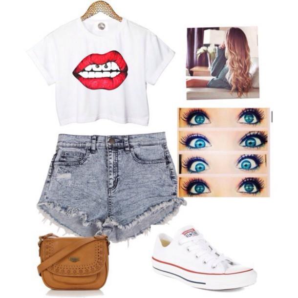 shorts skirt blouse lips crop top bag