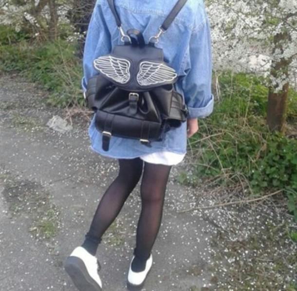 bag pegasus wings winged bag backpack jeans hipster indie vintage pale grunge bookbag