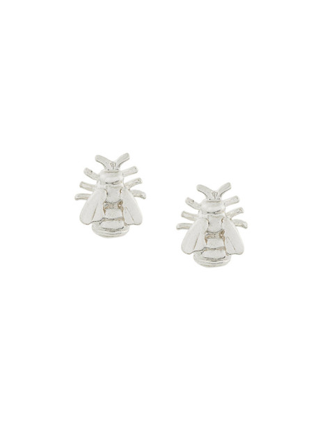 metal women bee earrings stud earrings silver grey metallic jewels