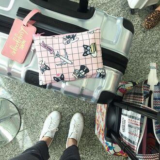 make-up yeah bunny bag pink pastel makeup bag frenchie cute