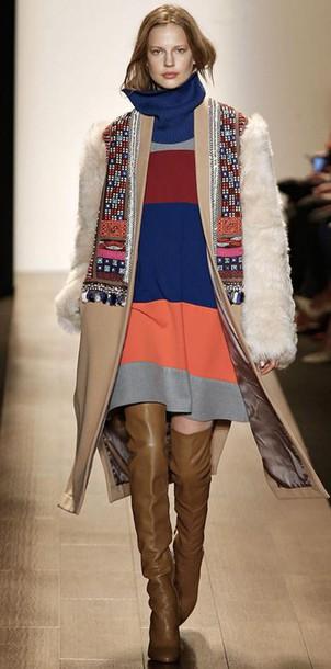 coat dress fashion week 2015 fashion knee high boots