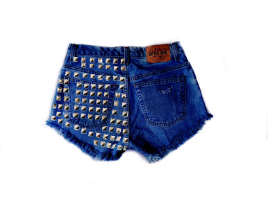 Rolling Stone 520 Studded Shorts - Arad Denim