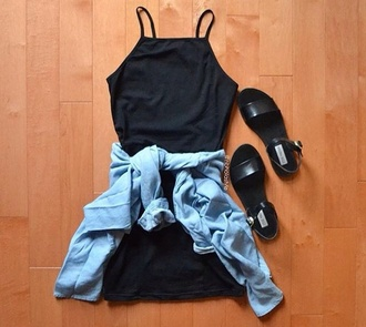 dress black dress black little black dress short dress summer dress mini dress jeans light blue jeans blouse sandals outfit tumblr outfit summer outfits