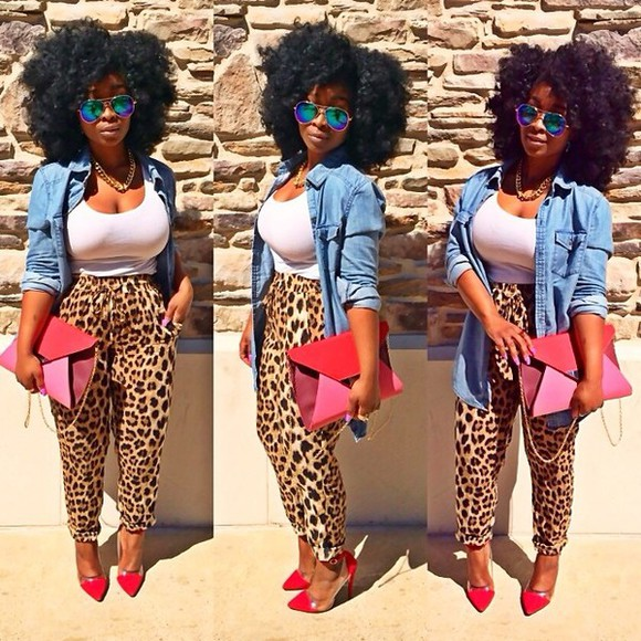 pants cheetah print loose pants summer denim shirt summer outfit afro red red clutch blue sunglasses joggers pants