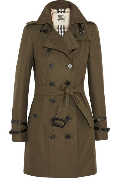Burberry London coat trench coat cotton dark green